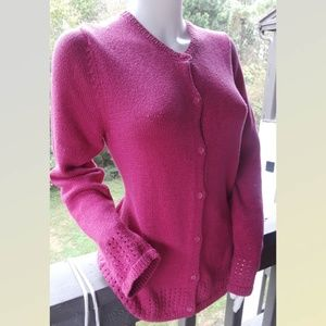Coldwater Creek Knit Crochet Cardigan PINK 10/12